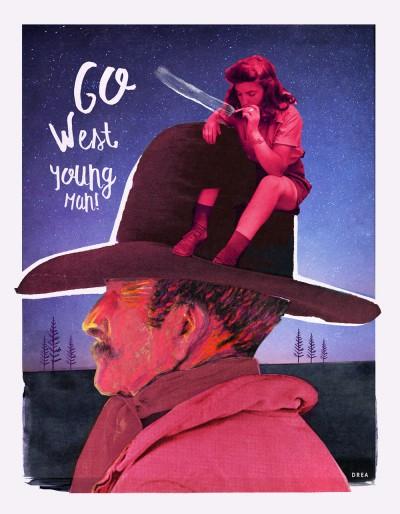 Affiche murale western rétro colorée de style collage montrant un cowboy rose intitulé: Go west, young man!