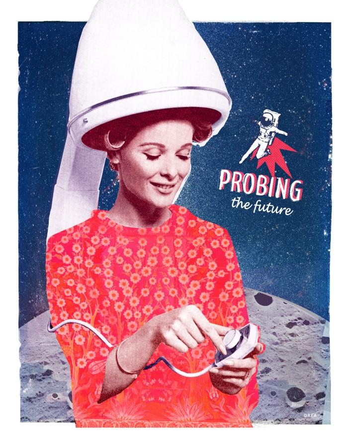 Affiche murale vintage rétro colorée de style collage montrant une femme en robe rouge fleuri intitulée: Probing the future