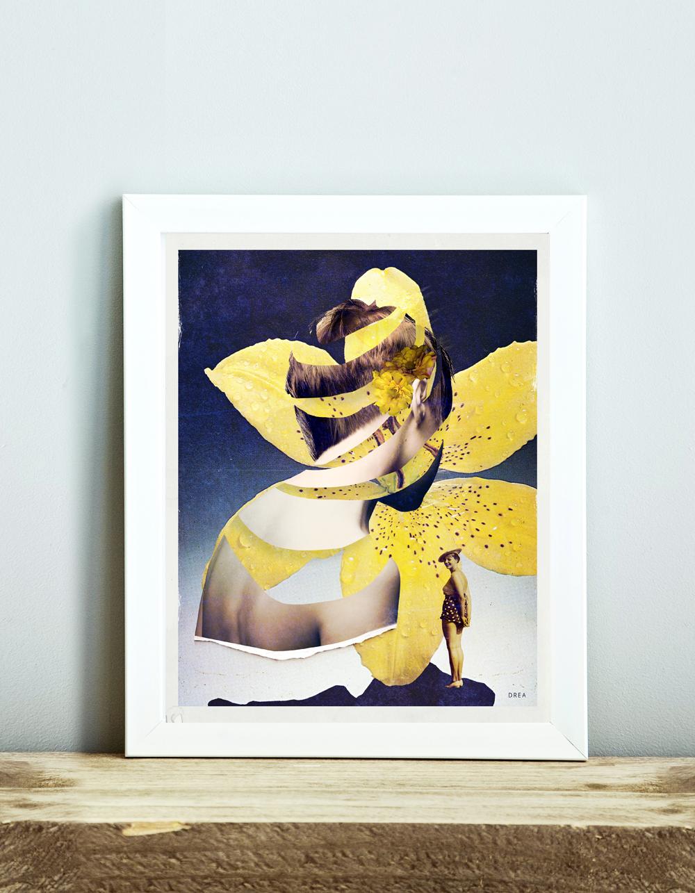 Affiche murale vintage rétro colorée de style collage montrant une femme et une fleur jaune intitulée: Fleur de peau