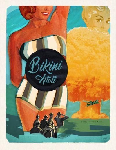 Affiche murale vintage rétro colorée de style collage montrant une femme en costume de bain intitulée: bikini Atoll