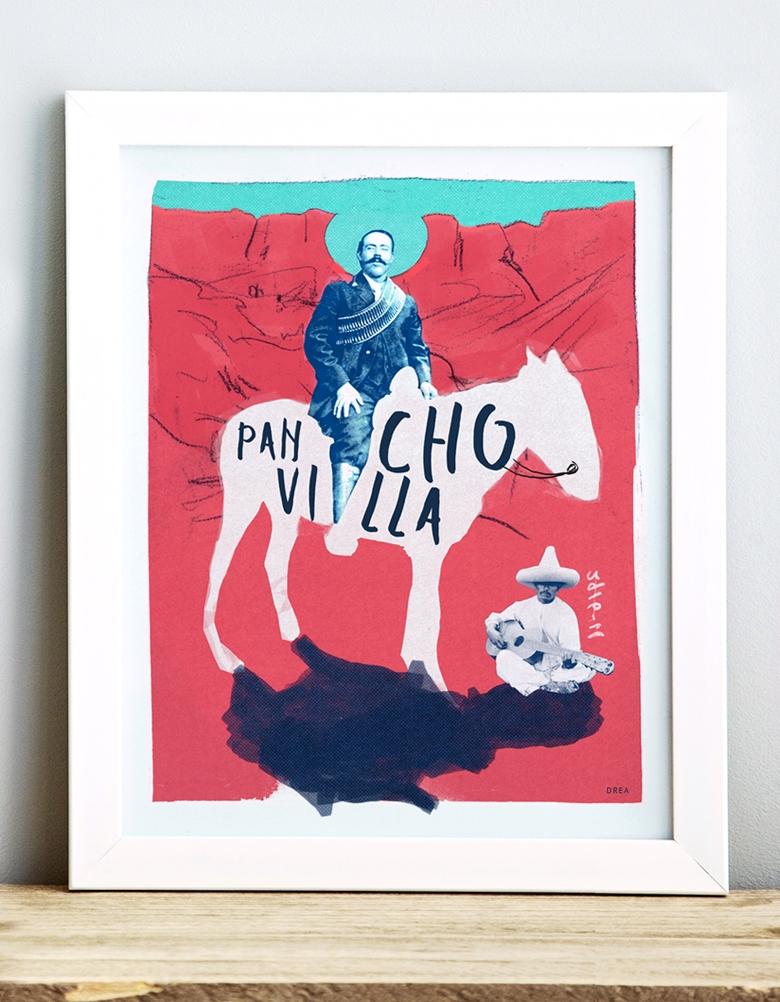 Affiche murale vintage rétro colorée de style collage faisant le portrait de Pancho Villa, un révolutionnaire mexicain. Réalisée par Dréa, Andrée-Anne Guay. Dréa collage