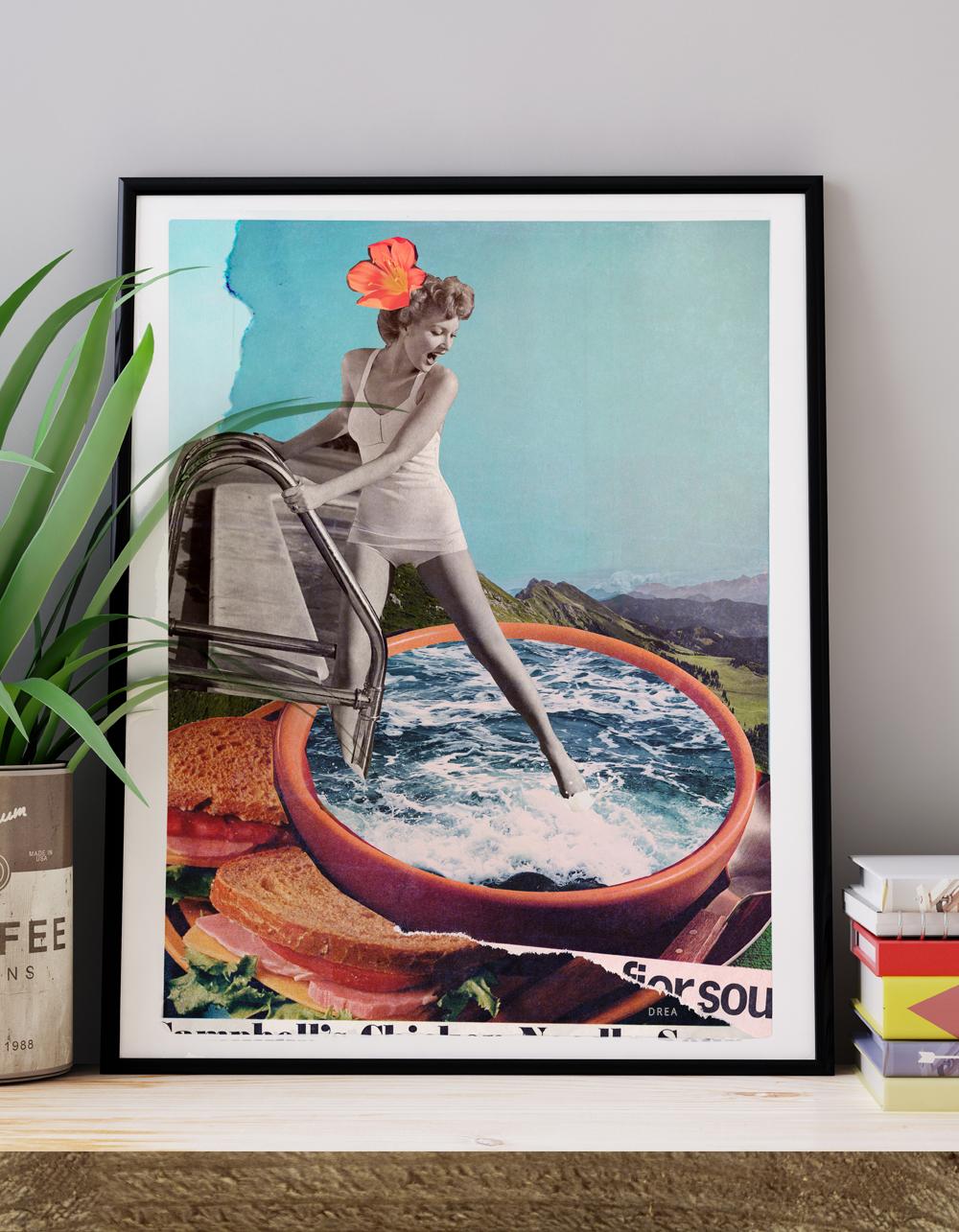 Affiche murale vintage rétro colorée de style collage montrant une femme se baignant intitulée: la baignade