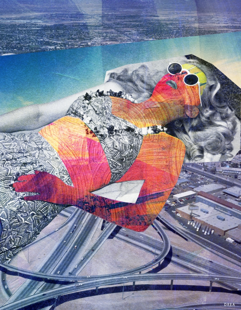Affiche murale vintage rétro colorée de style collage montrant une femme multicolore se bronzant intitulée: coup de soleil