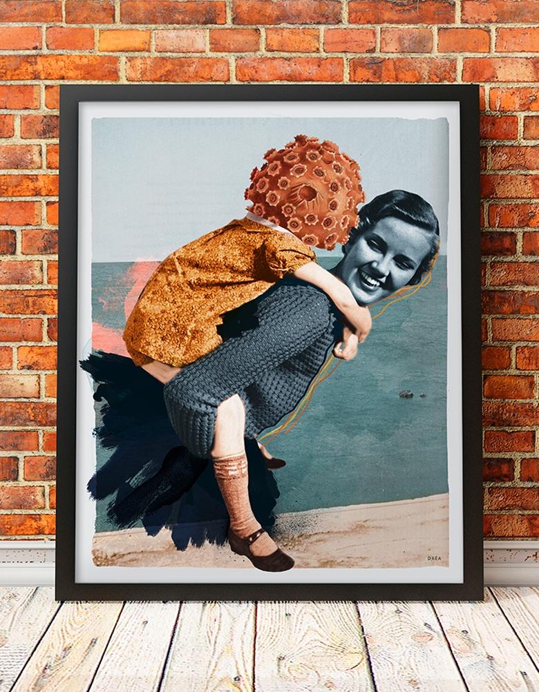 Affiche murale vintage rétro colorée de style collage montrant une femme avec son enfant sur la plage intitulée: La plage. Réalisée par Dréa, Andrée-Anne Guay. Dréa collage